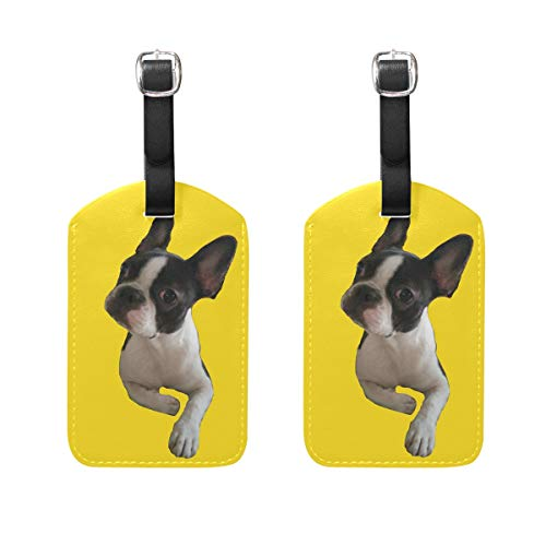 Jojogood BOSTON TERRIER Luggage Tags Bag Travel Labels Tag for Baggage Suitcase 2PCS