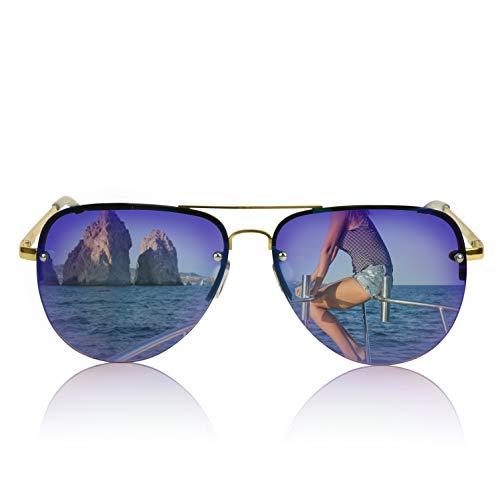 Vintage Classic Sunglasses Thin Wire Rim Metal Double Bridge Gold Frame ()