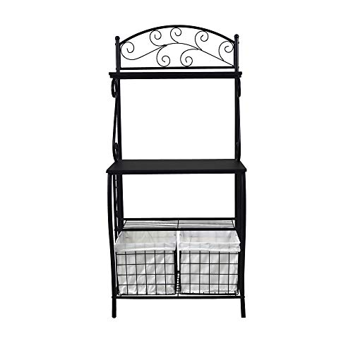 Circlelink Kitchen Scroll Work Metal Bakers Rack with 2 Baskets Storage, Black Finish -