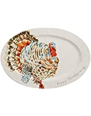 "Mud Pie Watercolor Turkey Platter, White, 14"" x 20 1/2"""
