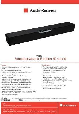 Audio Source S3D40 Soundbar with Sonic Emotion 3D Sound