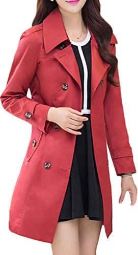 Womens Turn Down Collar Double-Breasted Long Trench Coat with Belt, Red