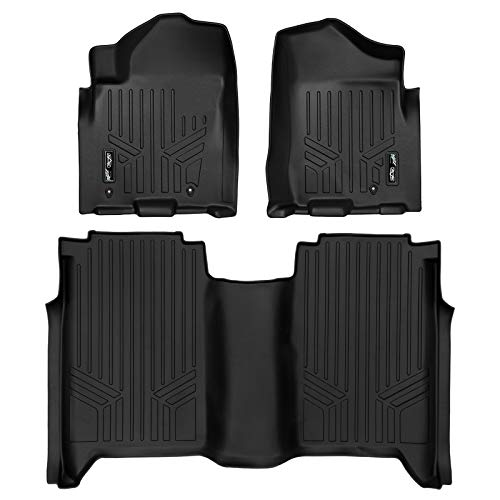 SMARTLINER Floor Mats 2 Row Liner Set Black for 2008-2015 Nissan Titan Crew Cab (4 Full Size Doors)