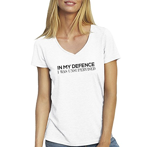 In My Defence I Was Unsupervised Crazzy T-Shirt camiseta Cuello V para la Mujer Blanca