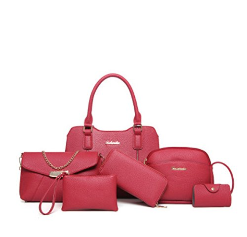 Sac Femelle Sac Et En Red Femmes Sac Épaule Loisirs Mode WUYY Europe Chaîne Sac PU 6 Messenger Cuir Pcs Bag Amérique Uq5w4OH