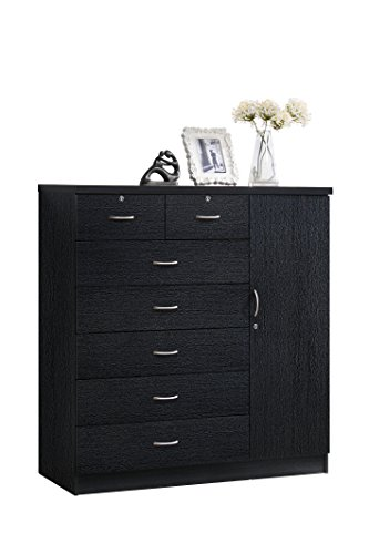 (Hodedah 7 Drawer Jumbo Chest, Five Large Drawers, Two Smaller Drawers with Two Lock, Hanging Rod, and Three Shelves, Black)