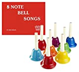 Gift Set: Rhythm Band Bundle – 8-Note Metal Handbell Set with 8-Note Bell Songs Book – Teach Kids Music at an Early Age