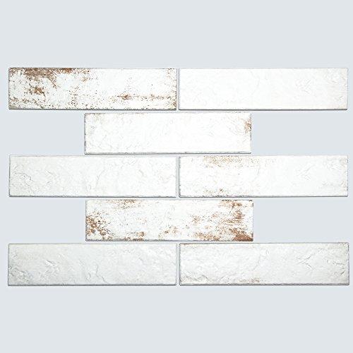 Broadway Brick White - Rustic Porcelain Subway Tile for Kitchen Backsplash, Wall, Shower - 2.5