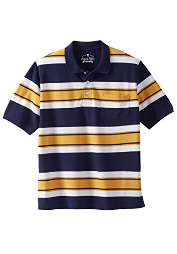 Liberty Blues Men's Big & Tall Classic Fit Stretch Polo, Golden Yellow Rugby