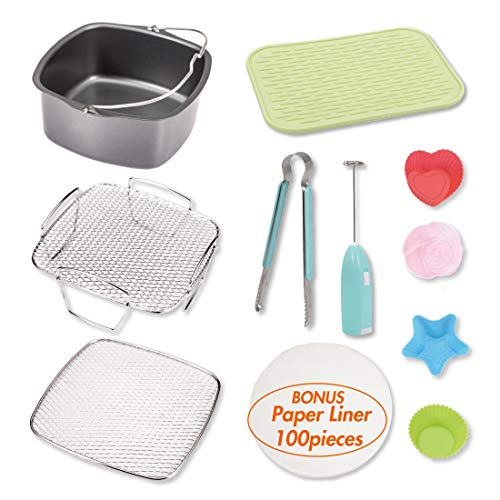 Air Fryer Accessories Set including Cake Barrel, 2 layer reversible cooking rack, 2 in 1 Silicone Mat, 4 pcs Silicone Muffin Cups, Food Tong, Electric Baloon Whisk, and 100 pcs Paper Liner, Square