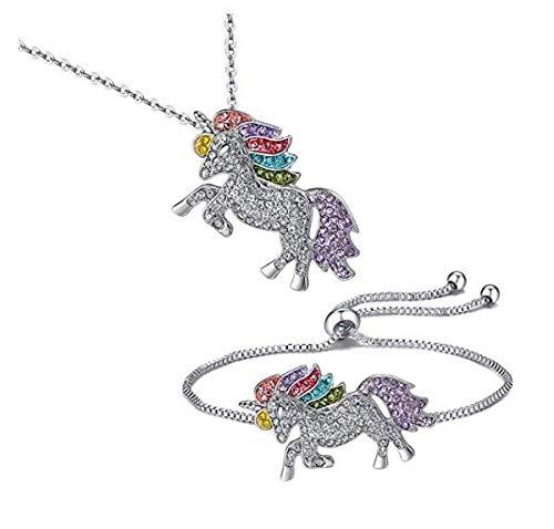 - Unicorn Jewelry Set Unicorn Necklace Unicorn Bracelet Unicorn Earrings Stud Unicorn Adjsuting Ring (Unicorn Necklace & Bracelet)