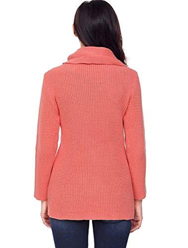 X A Felpe Con Red Colletto Dimensione E Maniche Piane Irregolare orange Risvolto Grigio Qiusa colore Donna Pullover Lunghe Da small 1pqfa