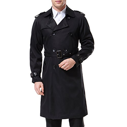 AOWOFS Men's Double Breasted Trenchcoat Stylish Slim Fit Mid Long Belted Windbreaker, Black, X-Large