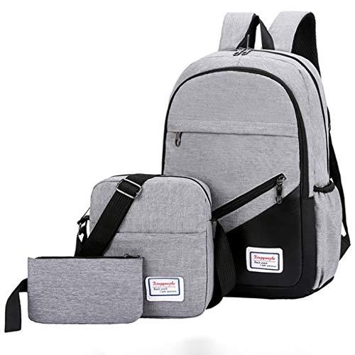 Outdoor Travel Shoulder Bag for Girls-Three-NEARTIME Fashion 3 Piece Canvas Solid Color Backpack+Clutch Bag+Messenger Bag (Best Way To Trim Balls)