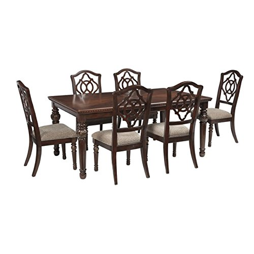 Ashley Leahlyn 7 Piece Dining Set in Reddish Brown