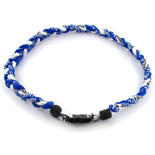 "MapofBeauty 18"" Sport Style Two Colors Fashion Three Braided Rope Tornado Necklace (Royal Blue/ White)"