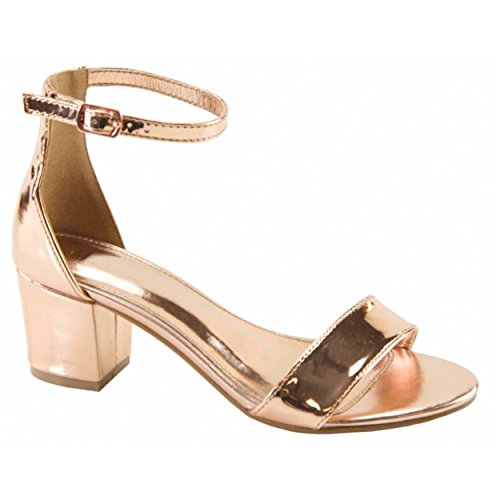 23987224025 Women s Ankle Buckle Dress Mid Chunky Block Heel Sandals (Rose Gold Lucite)  - Buy Online in Oman.