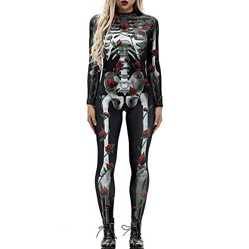 Carprinass Womens Horror Pattern Slim Fitted Bodycon Jumpsuit Black XL -