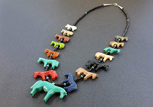 - Hand Carved All Horse Multicolored Fetish Necklace with Black Pen Shell Neckline