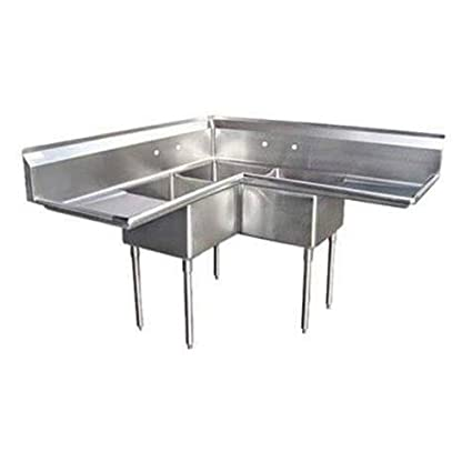 3 Compartment Corner Commercial Restaurant S/S Sink 18u0026quot;x18u0026quot; 2  Drainboards 57u0026quot