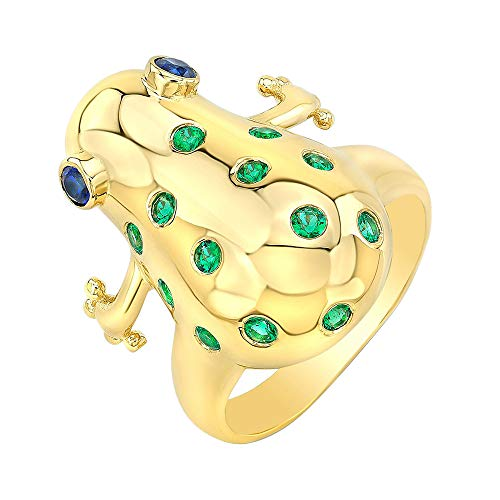0.35 Ct Round Cut Synthetic Emerald & Blue Sapphire Frog Fancy Ring In Solid 14K Yellow Real Gold 7
