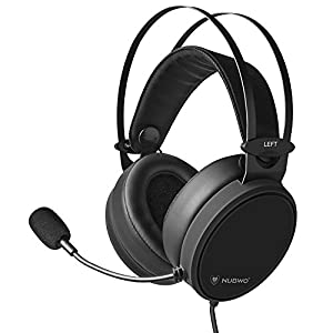 Lightweight PS4 Xbox One Gaming Headset Stereo with Microphone Mute 3.5mm Wired Over Ear Computer Headphones Volume Control Flexible Headband for PC, Laptop, Tablet, Mac, Chat, Video Conference -Black