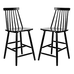 Farmhouse Barstools Safavieh Home Collection Beaufort Spindle Back Black Counter 24-inch Stool (Set of 2) farmhouse barstools