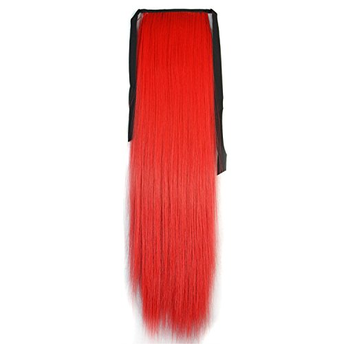 Stepupgirl 1 Piece 21 Inch Straight Synthetic Fiber Ponytail Horsetail with Souvenir Card (Bright Red ) by (Red Ponytail Wig)
