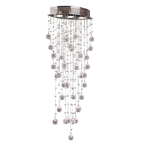 Worldwide Lighting Icicle Collection 3 Light Chrome Finish and Clear Crystal Flush Mount Ceiling Light 16