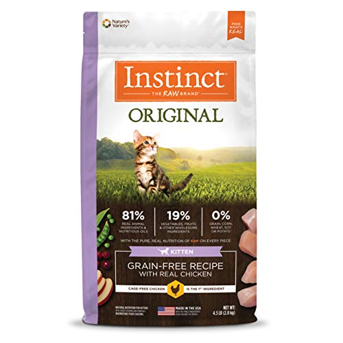 Instinct Original Kitten Grain Free Recipe With Real Chicken Natural Dry Cat Food By Nature'S Variety, 4.5 Lb. Bag ()