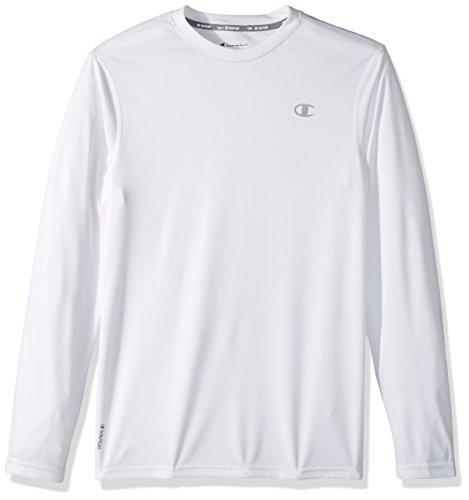 Champion Men's Double Dry Heather Long Sleeve T-Shirt, White, X-Large