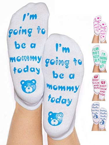- DonnaElite Labor & Delivery Inspirational Non Skid Push Maternity Socks | Luxury Combed Cotton Non Slip Grip for Pregnancy and Hospital Bag (Light Blue - I'm Going to Be A Mommy Today)