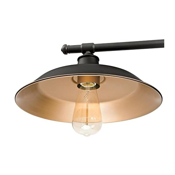Westinghouse Lighting 6332500 Iron Hill Three-Light Indoor Island Pulley Pendant, Oil Rubbed Finish with Highlights and Metallic Bronze Interior, 3 - Three-light indoor island Pendant with vintage-industrial details adds unique appeal 31-15/16 inches in height, 39-15/16 inches in Width, 12 inches in depth, 58-15/16 inches maximum hanging length, 31-15/16 inches minimum hanging length Uses three 60-watt medium-base light bulbs (not included), for a vintage appeal use Westinghouse filament LED light bulbs. Recommended Uses- Impressive down lighting for over a kitchen island, breakfast bar, pool table or dining room. Ideal for a range of architectural home styles and decor's, including art deco, arts & crafts, bungalow, craftsman, and modern - kitchen-dining-room-decor, kitchen-dining-room, chandeliers-lighting - 419SDvpIx L. SS570  -
