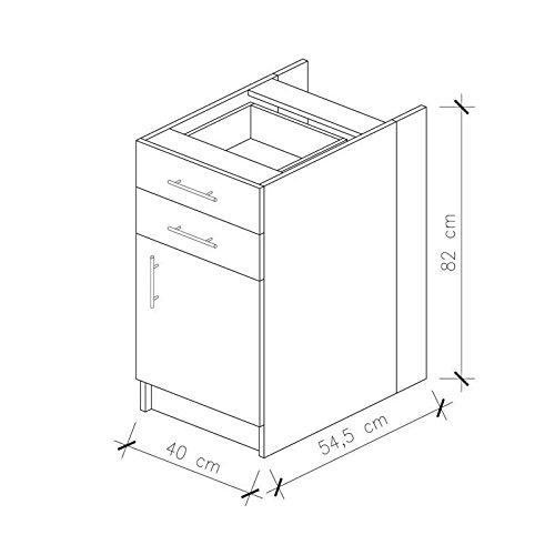 OBI Caisson bas de cuisine avec 1 porte 2 tiroirs L 40 cm Blanc et blanc laque brillant