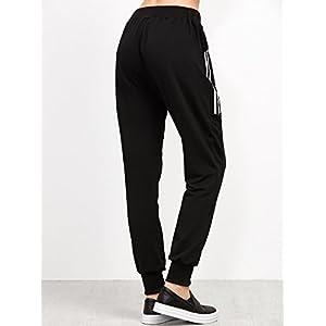 SweatyRocks Women's Drawstring Waist Striped Side Jogger Sweatpants With Pockets (X-Large, Black#6)