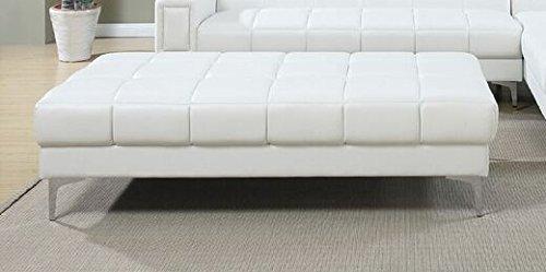 Poundex F7229 Bobkona Hayden Bonded Leather Ottoman, White