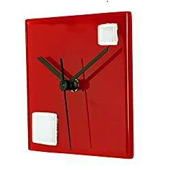 River City Clocks Square Red Glass Wall Clock with White Squares