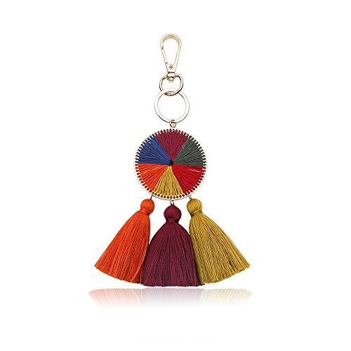 (Tassel Pom Pom Key Chain Colorful Boho Charm Key Ring, Fashion Accessories for Women (N1))
