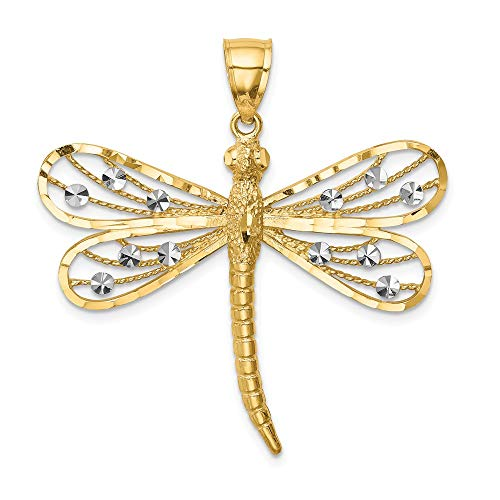 14k Yellow Gold White Dragonfly Pendant Charm Necklace Insect Outdoor Nature Fine Jewelry Gifts For Women For Her 14k Gold Dragonfly Charm