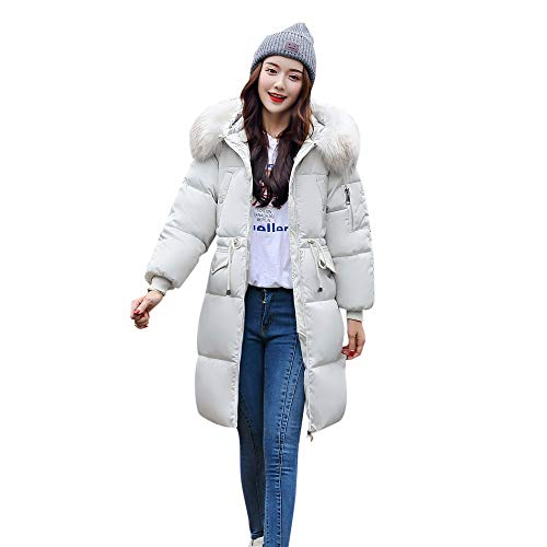 - 2018 New Women's Hooded Down Coat,ZYooh Winter Warm Down Cotton Parka Faux Fur Jacket Coats Quilted Outwear(White,M)