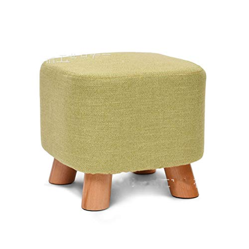 - Glad You Came Fabric Stool Round Stool Wooden Chair Square Stool Upholstered Footstool Fashion Home Sofa Chair Art Small Bench Furniture 4 Leg,Green Square