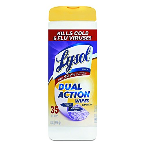 Lysol Dual Action Disinfecting Wipes w. Scrubbing Texture, 420ct (12X35ct) (Action Disinfectant Dual)
