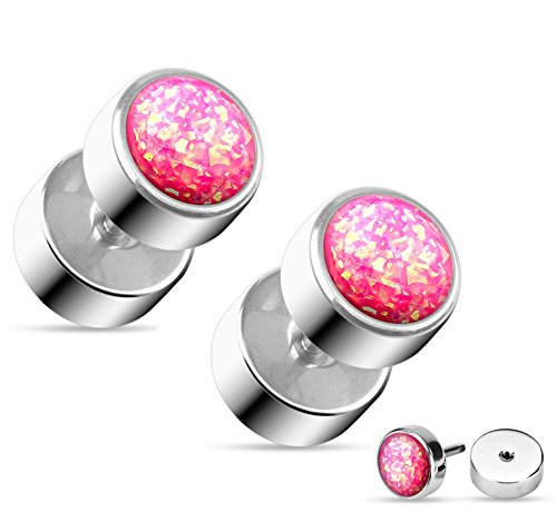 Pink Glitter Plugs - Opal Glitter Fake Cheater Plugs Stud Earrings - 16g, 316L Surgical Steel - Sold as Pair (Pink Imitation Opal)