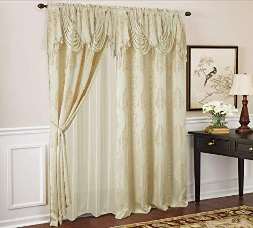 RT Designers Collection Rosetta Textured Jacquard Curtain Panel w/Attached 18