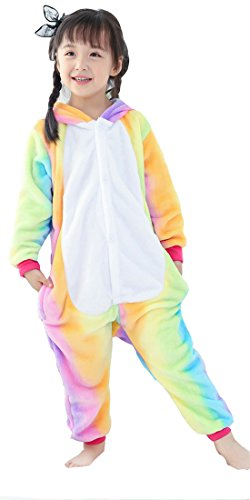 BLIFECOS BELIFECOS Flannel Children Rainbow Colorful Unicorn Cosplay Costume Onesie Pajamas for Baby95