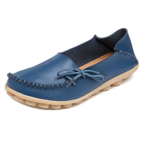 LONSOEN Women Moccasin Driving Shoes Casual Solid Leather Loafer and Slip On Boat Flats Light Blue