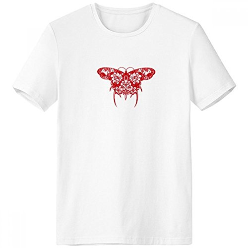 Kite Clothing Butterfly (Chinese Kite Butterfly in Red Crew-Neck White T-shirt Spring Summer Tagless Comfort Sports T-shirts Gift)