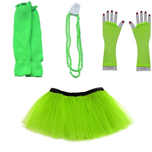 Dreamdanceworks 80s Fancy Costume Set - TUTU & LEG WARMERS & FISHNET GLOVES & BEADS (Lime Green)