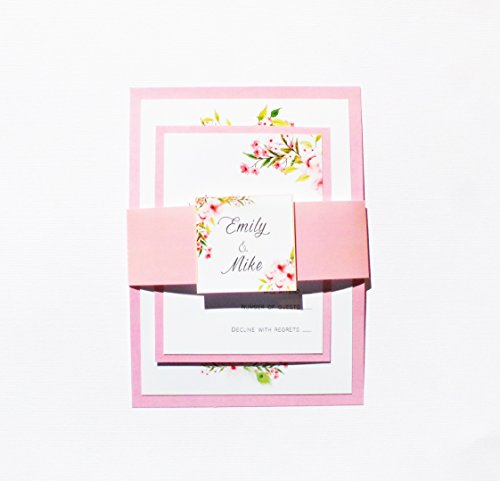 Romantic Wedding Invitations Watercolor Florwels Pink Green Bohemian Style + Envelopes + Response Cards Set SAMPLE by Pink The Cat