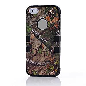 DUR Silicon And PC Hard Case for iPhone 5 with Pine Branch Pattern , Purple